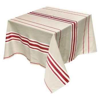 Nappe 200x165 Corda Métis bordeaux blanc 70% coton 30% lin Artiga Hivers -arti10309
