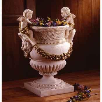 Vases-Modèle Cherub Urn, surface marbre vieilli patine or-bs3060wwg