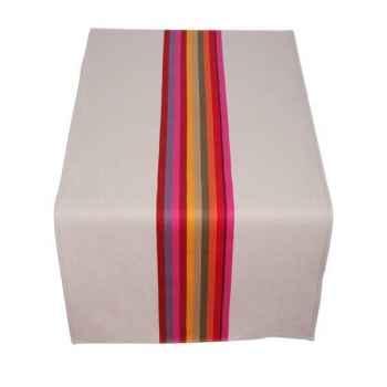 Jeté de table 155x54 Mauleon fushia 70% coton 30% lin Artiga Hivers -arti10330