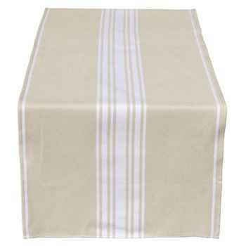 Jeté de table 155x54 Corda Métis blanc 70% coton 30% lin Artiga Hivers -arti10298