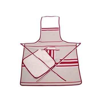 Tablier Chef 2 carrés éponge Corda Métis bordeaux blanc 70% coton 30% lin Artiga Hivers -arti10319