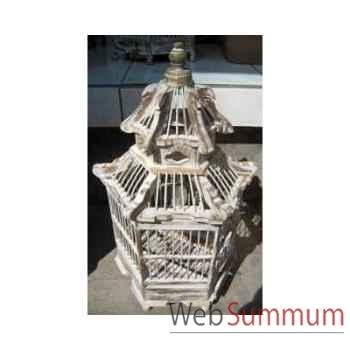 Cage Pagode blanche Art Design Indonésien -32276BL