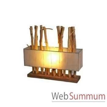 Lampe rectangulaire bois flotte Art Design Indonésien avec abat jour -33191