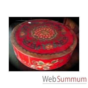 Boîte ronde rouge Art Design Indonésien -C3030