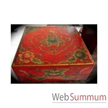 Boîte carrée rouge Art Design Indonésien -C3029