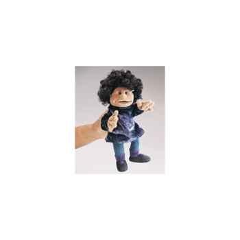 Marionnette Folkmanis Petite fille cheveux noirs -2332