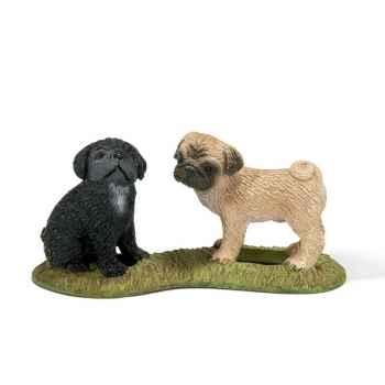 Figurine Schleich chien Carlin chiots -16383