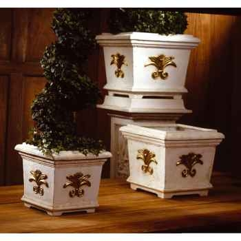 Vases-Modèle Tuscany Planter Box -medium, surface marbre vieilli patine or-bs2153wwg