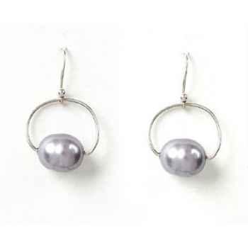 Boucles d'Oreilles SAHEL arc argent perles grises Les Joyaux de la Couronne