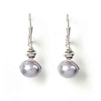 Boucles d'Oreilles SAHEL perle grise horizontale Les Joyaux de la Couronne