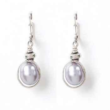 Boucles d'Oreilles SAHEL perle grise verticale Les Joyaux de la Couronne