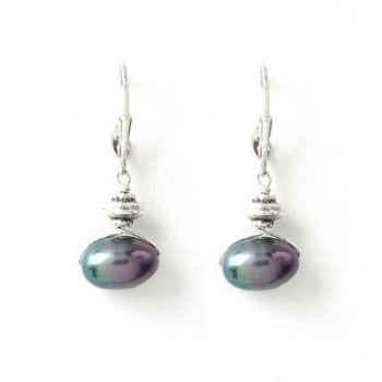 Boucles d'Oreilles SAHEL perle noire horizontale Les Joyaux de la Couronne