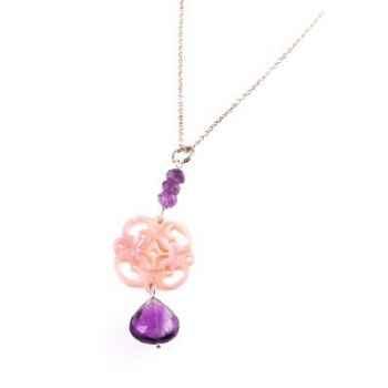 Collier DENTELLE nacre abalone rose/améthyste Les Joyaux de la Couronne