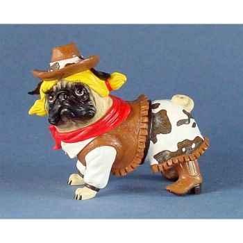 Figurine chien Carlin Pug Nacious Cowgirl PUG16162