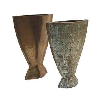 Vases-Modèle Koi Vase, surface bronze avec vert-de-gris-bs3230vb