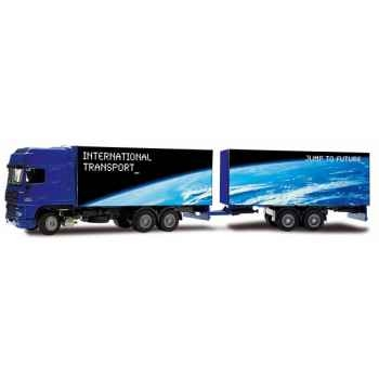 Miniature Camion DAF XF double remorque Transport International Joal 369