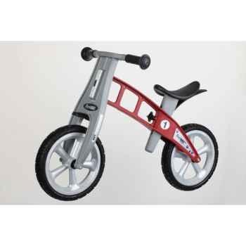 Vélo draisienne FirstBIKE STREET rouge sans frein, pneus à air