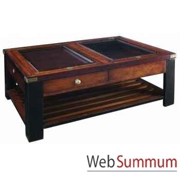 Table /Plateau verre, Noir -MF019