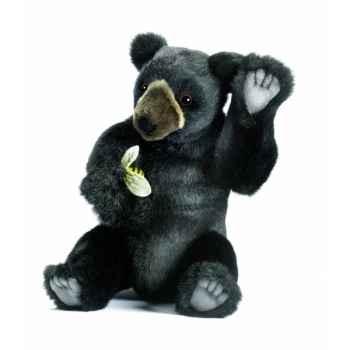 Peluche Ours noir assis 24cm Anima 5772
