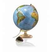 globe geographique lumineux double effet cartographie physique eteint politique allume pied bois et demi meridien metal