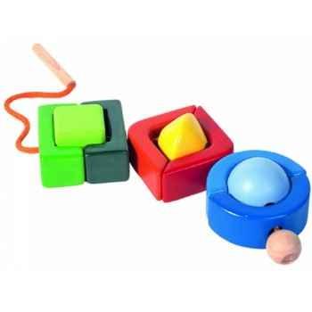 Perles géométriques à enfiler jouet en bois plantoys 5343