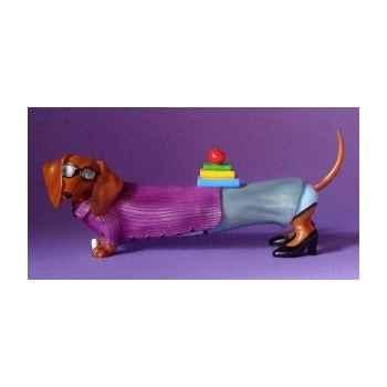 Figurine hot diggity chien teckel teacher  - hot16481