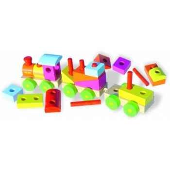 Grand train de cubes à construire - Jouet Vilac 2136