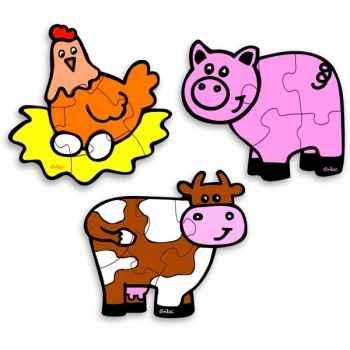Boîte vache 3 puzzles ferme - Jouet Vilac 2533