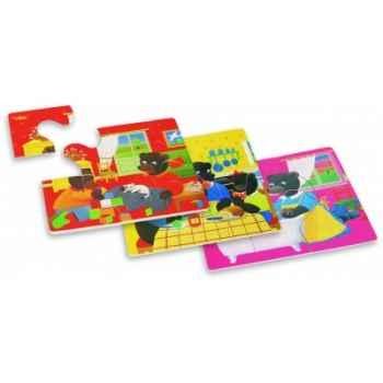 4 puzzles petit ours brun la maison - Jouet Vilac 6018