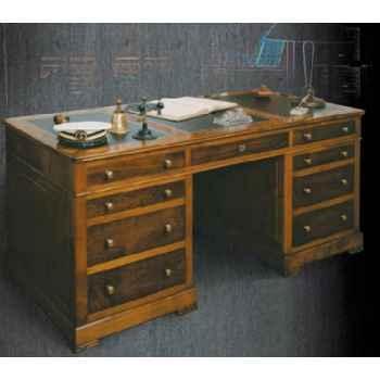 Bureau Amiral, dessus cuir, époque 19ème avec caisson 3 tiroirs - 180 x 78 x 85 cm - RE-040t