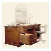bureau amiradessus cuir epoque 19eme avec caisson pour dossier suspendus et un petit tiroir 180 x 78 x 85 cm re 040