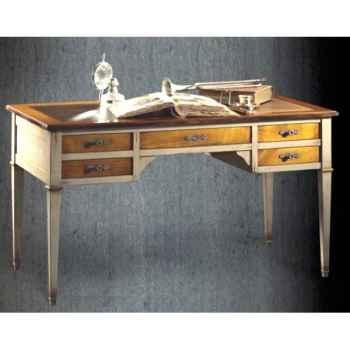 Bureau Directoire (5 tiroirs, 2 tirettes) époque 18ème, avec patine, dessus cuir - 140 x 78 x 70 cm - DI-003Apc