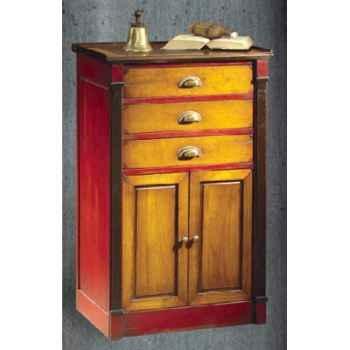 Meuble de quart (3 tiroirs et 2 portes), dessus cuir, avec patine, époque 19ème - 60 x 102 x 41 cm - CO-084pc
