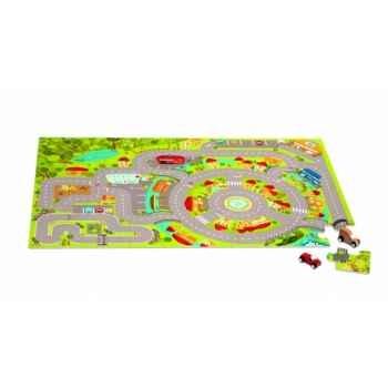 Coffret circuit puzzle bois 60 pcs (2 voitures) Janod J05498