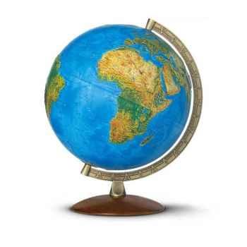 Globe Relief Primus - Boule bleue lumineuse - Pied bois et méridien métal - Cartographie double effet : physique éteint, politiq