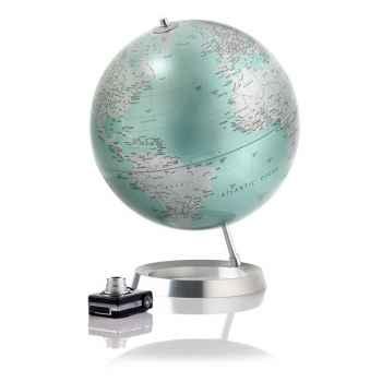 Globe Vision - Globe décoratif - Cartographie politique en anglais \'mint metal\' - diam 30 cm - Base caoutchouc et axe aluminiu