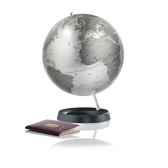 globe expression globe decoratif cartographie politique en anglais silver metadiam 30 cm base caoutchouc et axe alum