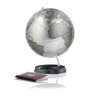 Globe Expression - Globe décoratif - Cartographie politique en anglais \'silver metal\' - diam 30 cm - Base caoutchouc et axe al