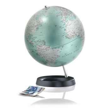 Globe desire - Globe décoratif - Cartographie politique en anglais \'mint metal\' - diam 30 cm - Base caoutchouc et axe aluminium