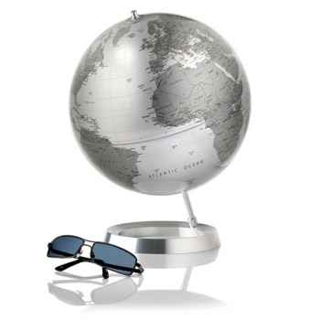 Globe Appearence - Globe décoratif - Cartographie politique en anglais type \'silver metal\' - diam 30 cm - Base en alu massif et axe aluminium