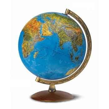 Globe Astra - Globe géographique lumineux - Cartographie double effet : physique éteint, politique allumé - Capitale d\'état matérialisée par un point lumineux - frontières en surbrillance - diam 30 cm - hauteur 38 cm