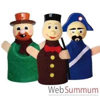 Duo & trio marionnettes à doigt guignol gnafron gendarme animascena 19854