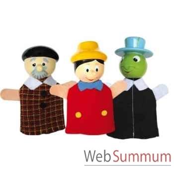 Duo & trio marionnettes à doigt jiminy pinocchio gepetto animascena 19861