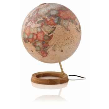 Globe Full Circle FC1L - Globe lumineux - Cartographie de type antique - diam 30 cm - Base chêne et axe laiton
