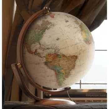 Globe de bureau Optimus 37 - Globe géographique lumineux - Cartographie de type antique,  réactualisée - diam 37 cm - hauteur 47 cm