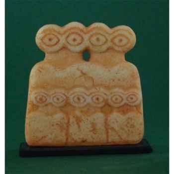 Figurine art mouseion mesopotamian eye idol metal base  mes01 3dMouseion