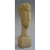 figurine art mouseion modigliani head 20cm with inscription mo08 3dmouseion