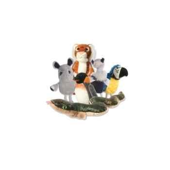 Marionnette à doigts lot de 6 animaux du zoo -PC002030 The Puppet Company