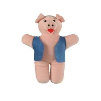 Marionnette à doigts cochon (veste bleue) -PC002187 The Puppet Company