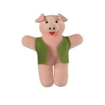 Marionnette à doigts cochon (veste verte) -PC002188 The Puppet Company